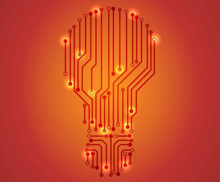 bulbs design over orange background illustration