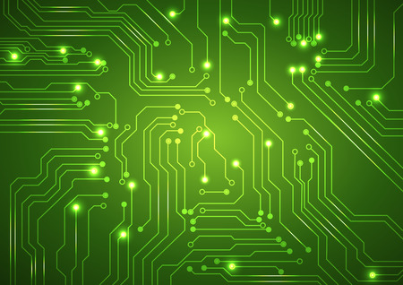 abstract green background with high tech circuit board