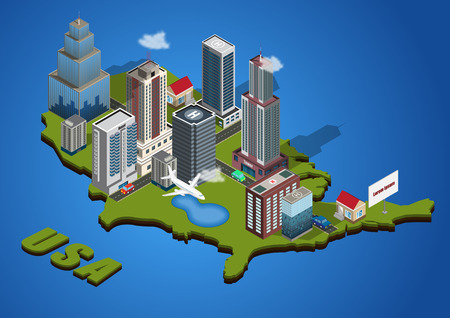 central america: Vector isometric city on America map Illustration