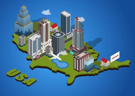 Vector isometric city on America map Stock Illustratie