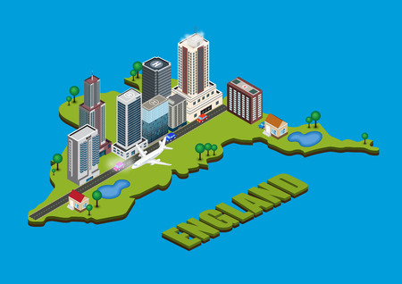 works: Vector isometric city on England map Illustration