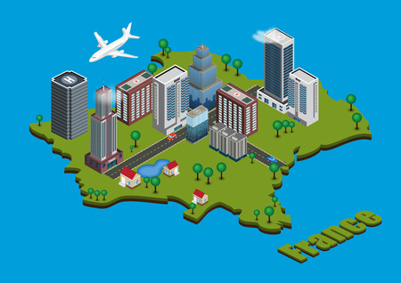 Vector isometric city on France map