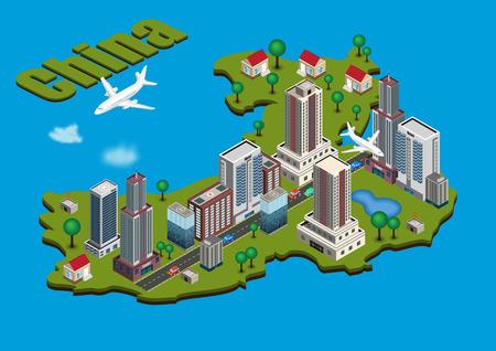 Vector isometric city on China map Stock Illustratie