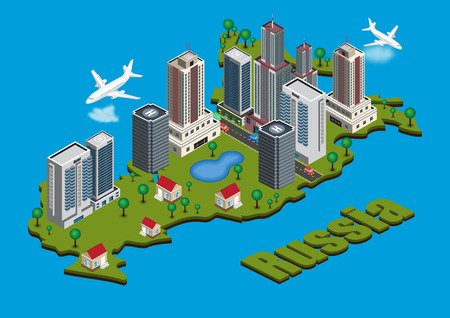 russia map: Vector isometric city on Russia map Illustration