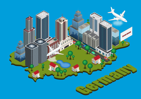 works: Vector isometric city on Germany map Illustration