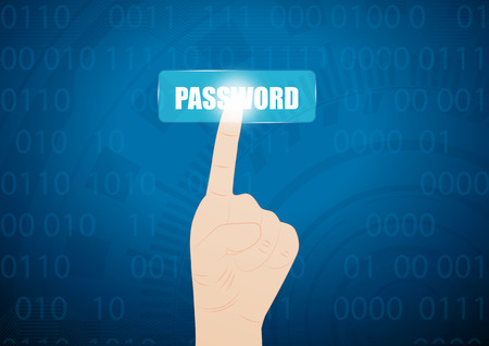 hand press: hand press on password button on virtual screen.Vector illustration