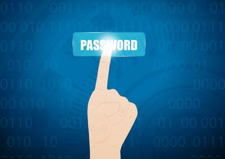 hand press: hand press on password button on virtual screen.Vector illustration