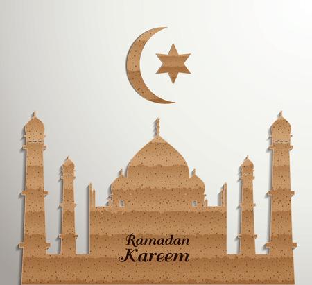 Ramadan Kareem.Muslim Cardboard Graphics. Vector illustration Illustration