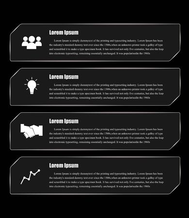 black and white Modern spiral infographics options banner. Vector illustration. Illustration