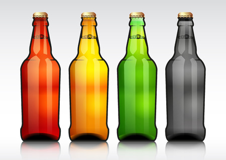 Glass beer bottle.vector illustration.