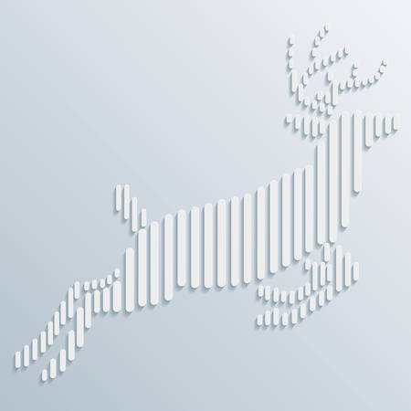 Abstract background with paper cut deer. Vector illustration