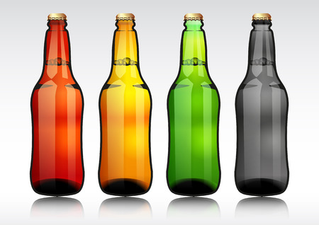 Glass beer bottle.vector illustration.