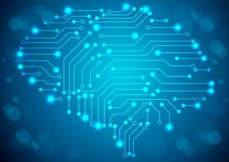 digitally: Brain with circuit board texture. Digital concept. Digitally background Illustration