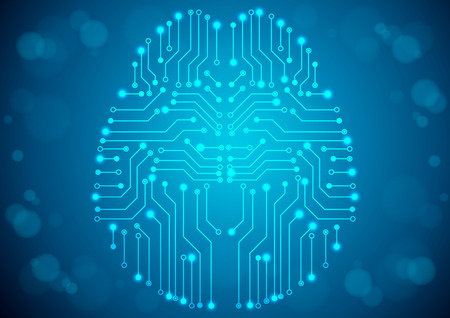 digitally: Brain with circuit board texture. Digital concept. Digitally background Illustration