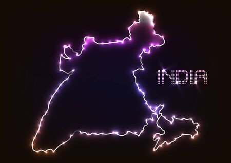Abstract design light india map over dark background.vector illustration Illustration