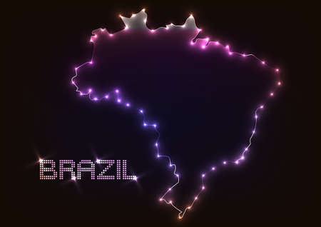 Abstract design light brazil map over dark background.vector illustration