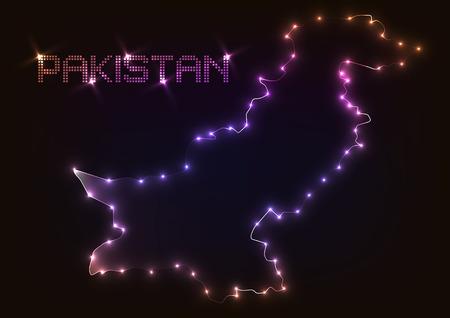 Abstract design light pakistan map over dark background.vector illustration
