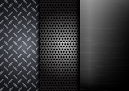 steel sheet: Set of metallic backgrounds.vector illustration
