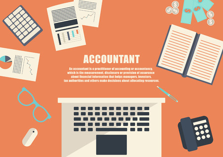 Flat design . Freelance career. Accountant
