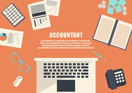 freelance: Flat design . Freelance career. Accountant