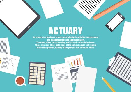 actuary: Flat design . Freelance career. Actuary