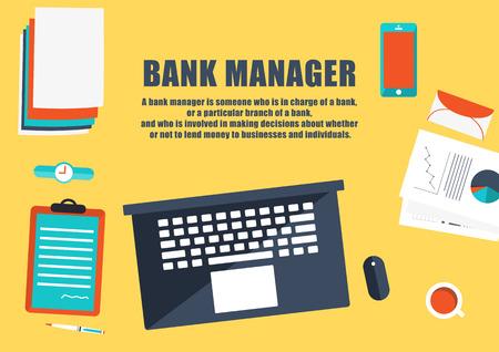 Flat design style modern illustration.bank manager