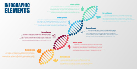 medicine icons: DNA banner.science infographics.