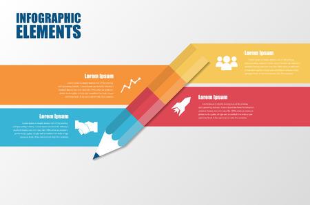 Nowoczesne minimalne elementy kolorowe infografiki tworzą kształt ołówka. Ilustracje wektorowe