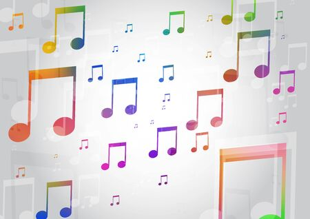 Abstract Background with Colorful Music notes Illustration