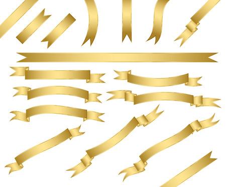 bookmark ribbon: set of gold ribbons.