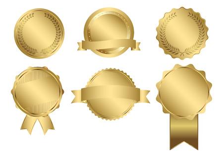 ゴールド シール セットのバッジ  イラスト・ベクター素材