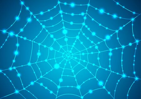 Glowing spider web on a blue background.