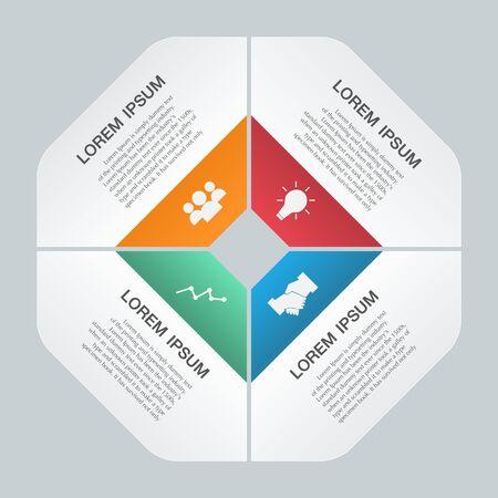 project management: Paper infographics parts template, modern design Illustration