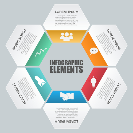 honeycomb: Infographic with honeycomb structure on the grey background