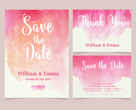 engagement party: Vector set of invitation cards with watercolor elements. Wedding collection