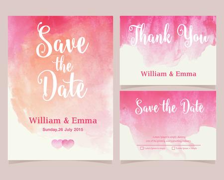 Vector set van uitnodigingskaarten met waterverf elementen. collectie bruiloft