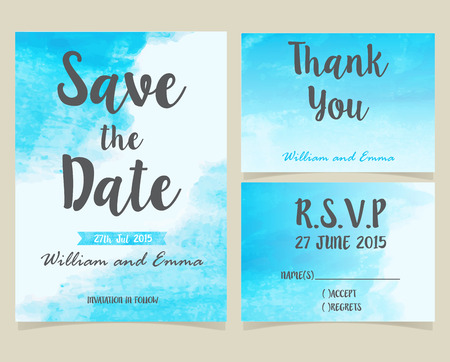 Vector set of invitation cards with watercolor elements. Wedding collection