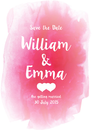 announcements: Wedding Invitation with watercolor background. Template Wedding invitations or announcements Illustration