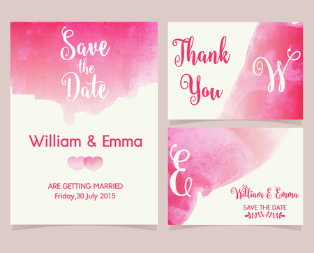 invitation cards: Vector set of invitation cards with watercolor elements. Wedding collection