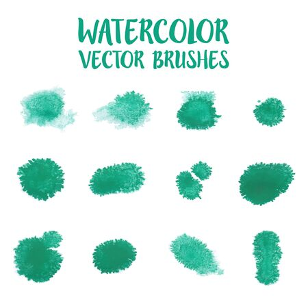 textbox: Set of green watercolor drop for brush, textbox, background, design element