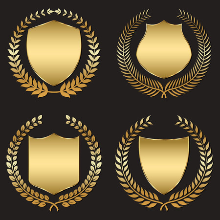 golden shield with laurel wreath