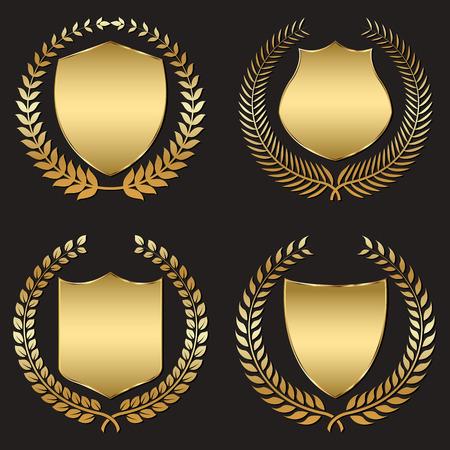 golden shield: golden shield with laurel wreath