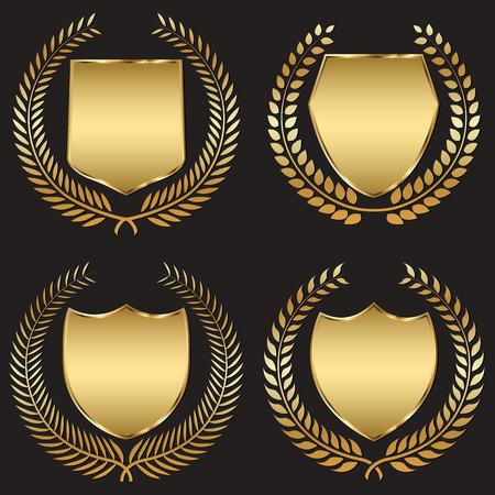 月桂樹の花輪と金色の盾