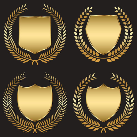 shield: escudo de oro con corona de laurel Vectores
