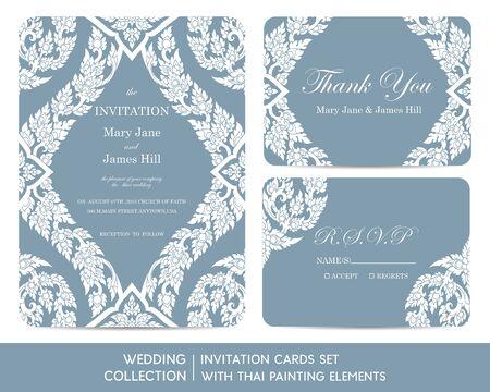 thai art: Wedding invitation cards set with thai painting elements