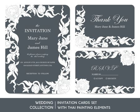 invitation cards: Wedding invitation cards set with thai painting elements