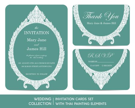 thai style: Wedding invitation cards set with thai painting elements