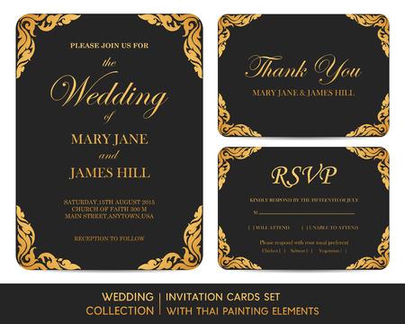 thai: Wedding invitation cards set with thai painting elements