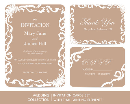thai painting: Wedding invitation cards set with thai painting elements