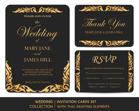 tarjeta de invitacion: Tarjetas de invitación de boda conjunto con elementos de pintura tailandés Vectores